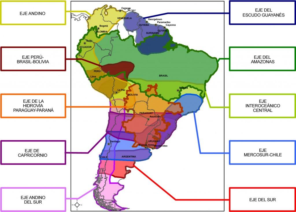 Ejes de la iniciativa IIRSA. Fuente: http://www.geosur.info/geosur/iirsa/pdf/es/ejes.jpg
